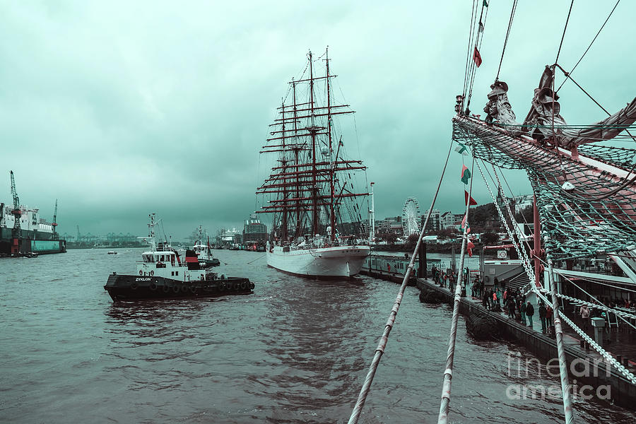 Sailboat Sedov in Hamburg by Marina Usmanskaya