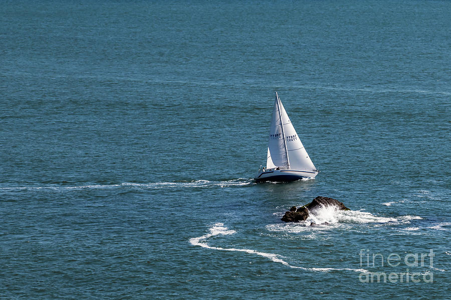 Sailboat Tacking off the Rocks Dana Point by Stefan H Unger