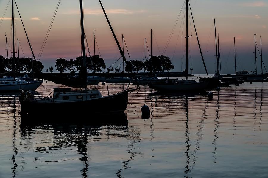 Sailboats at dawn  by Sven Brogren