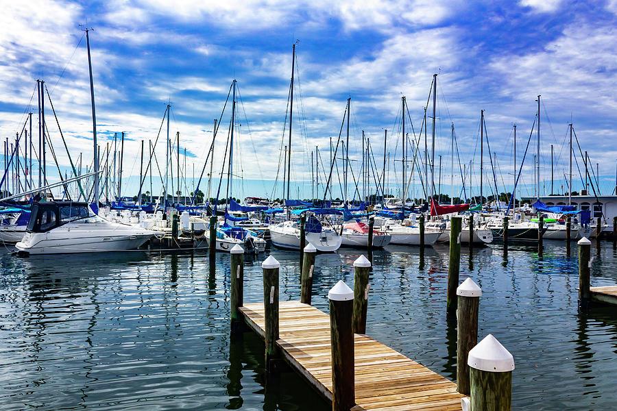 Sailboats at Harbor Series 9102 by Carlos Diaz