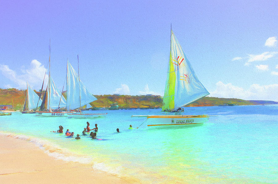 Anguilla Photograph - Sailboats At Sandy Ground In Anguilla  by Ola Allen