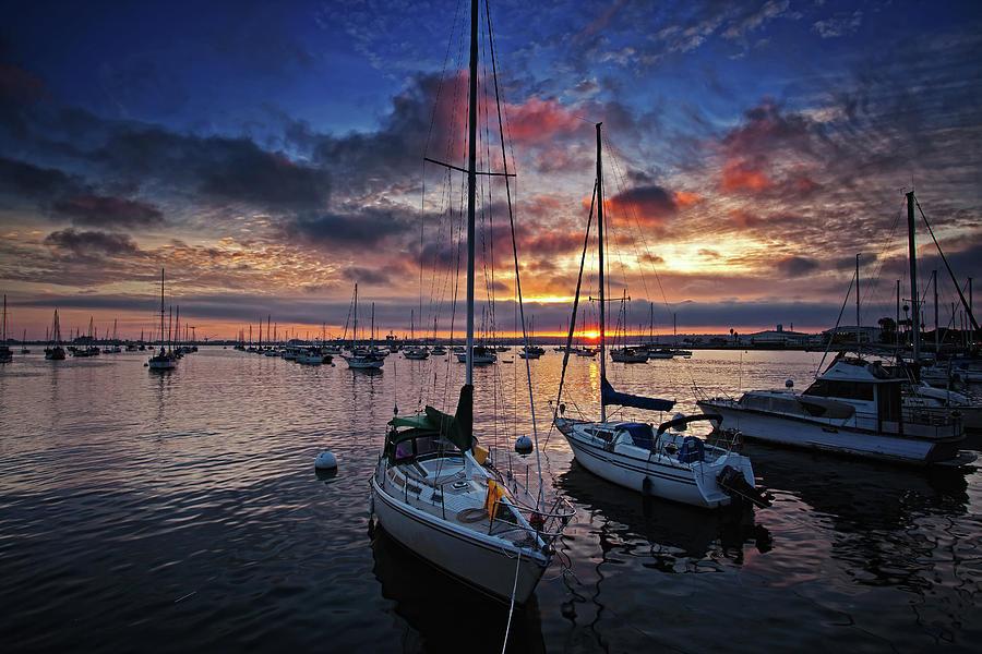 Sailboats At Sunset - San Diego Harbor Photograph by Sam Antonio Photography