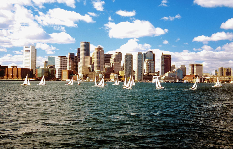Sailboats In Boston Harbor In Front Of Photograph by Medioimages/photodisc