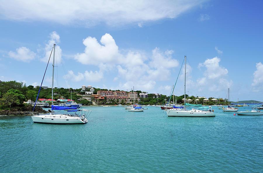 Sailboats In Cruz Bay, St. John Photograph by Driendl Group