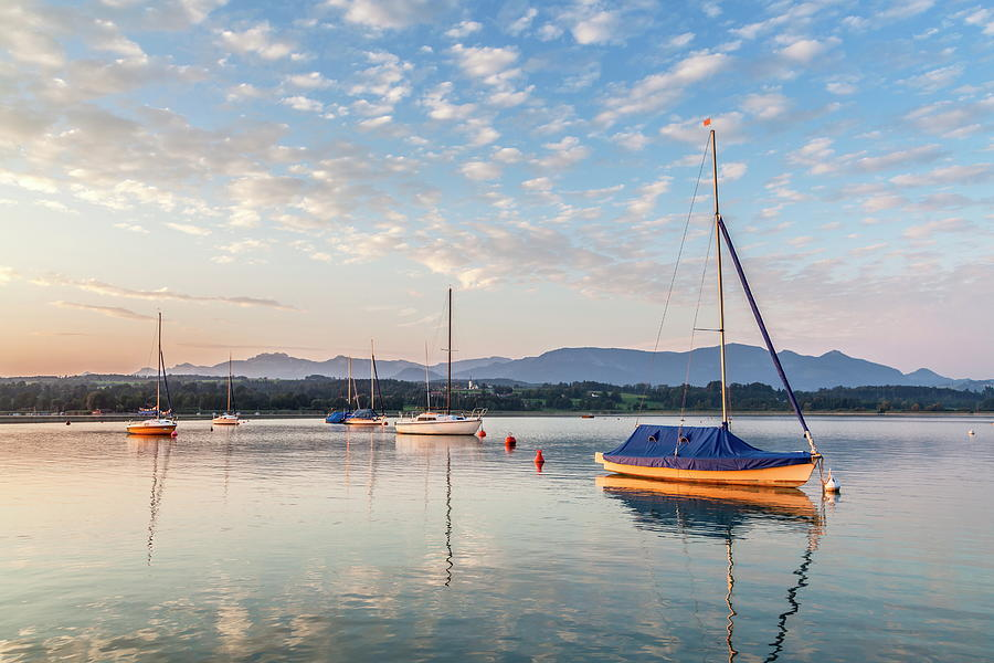 Sailboats On Lake Simssee, Germany Digital Art by Christian Back