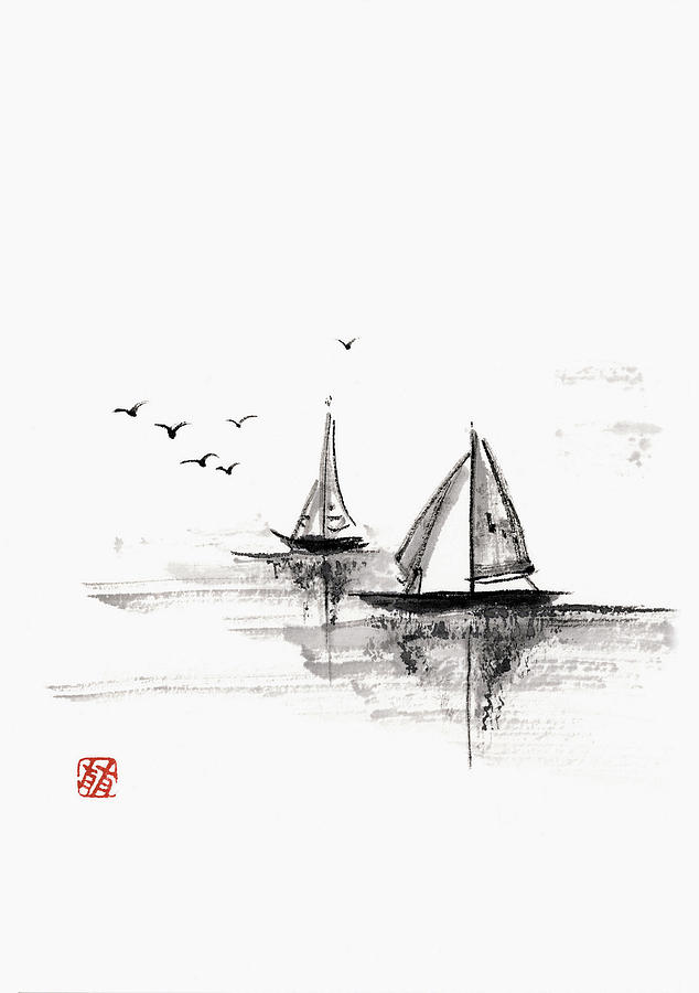 Sailboats On The Water Digital Art by Daj