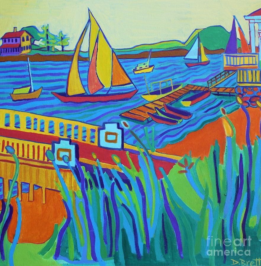 Landscape Painting - Sailing at Tucks Point Manchester by the sea by Debra Bretton Robinson