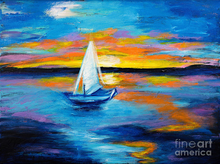 Seascape Painting - Sailing Away by Art by Danielle