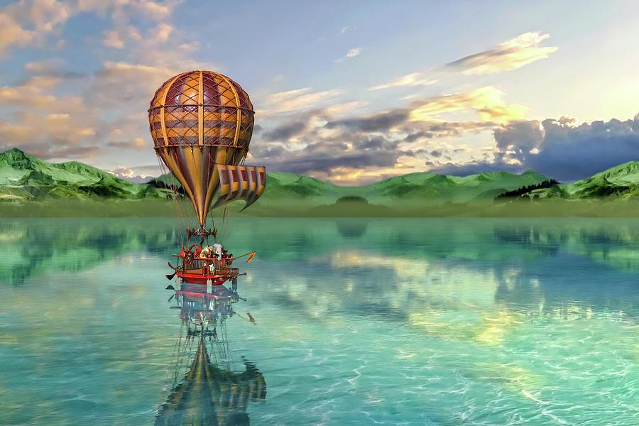Hot Digital Art - Sailing Away Daydream Steampunk Custom by Betsy Knapp
