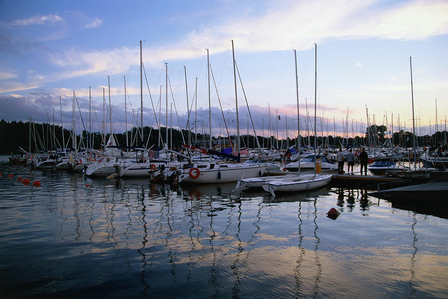 Sailing Boats Moored On Lake Photograph by Manfred Gottschalk
