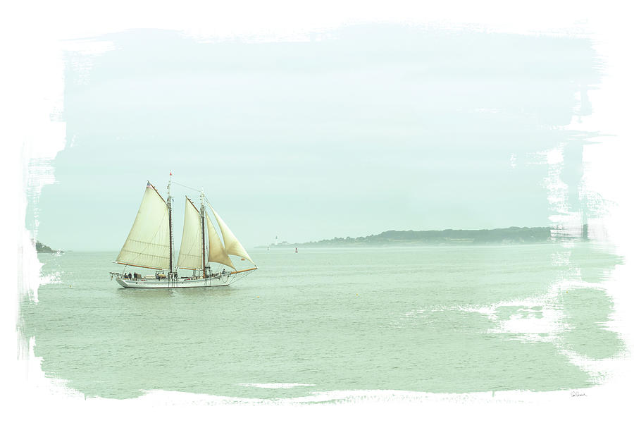 Boats Painting - Sailing On The Bay by Sue Schlabach