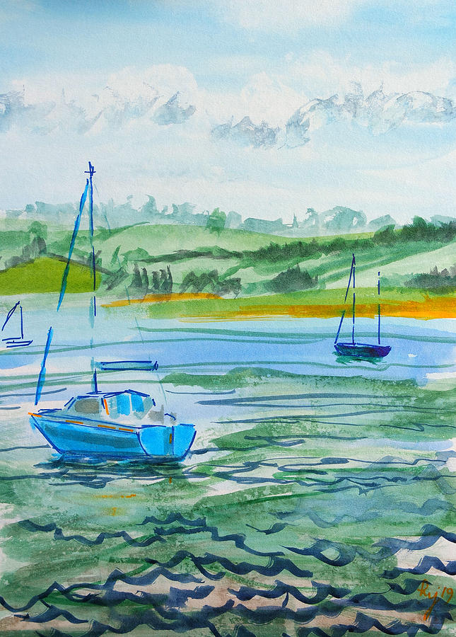 Sailing on the River Exe at Topsham watercolour painting en plein air by Mike Jory