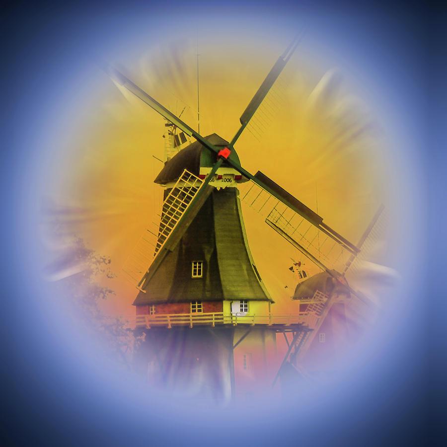 Sailing Romance Windmills 5 Mixed Media