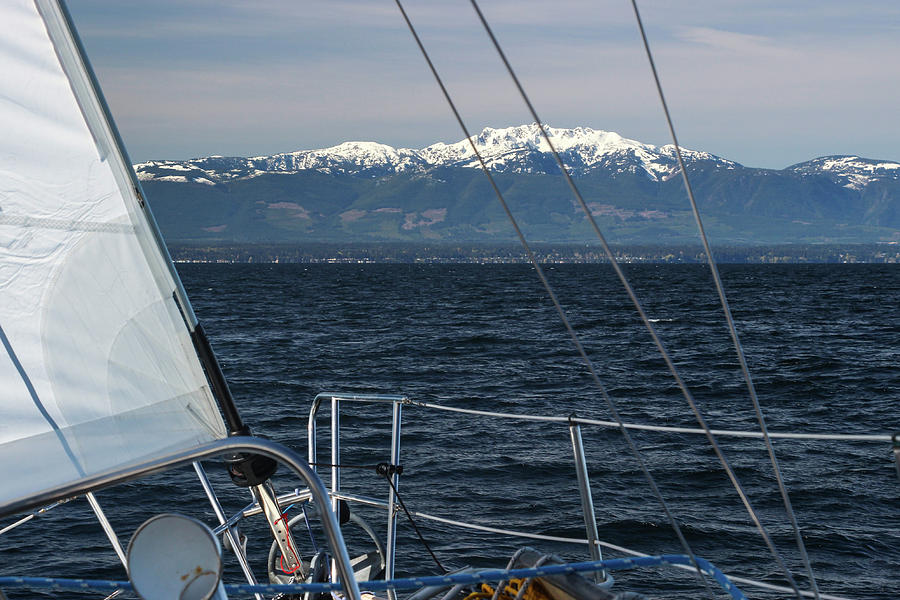 Sailing Upwind Towards Snow-capped Mountains by Pacific Northwest Sailing
