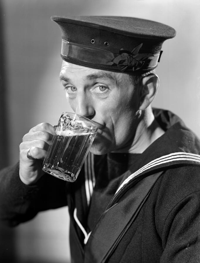 Sailor Drinking Beer Photograph by Fox Photos