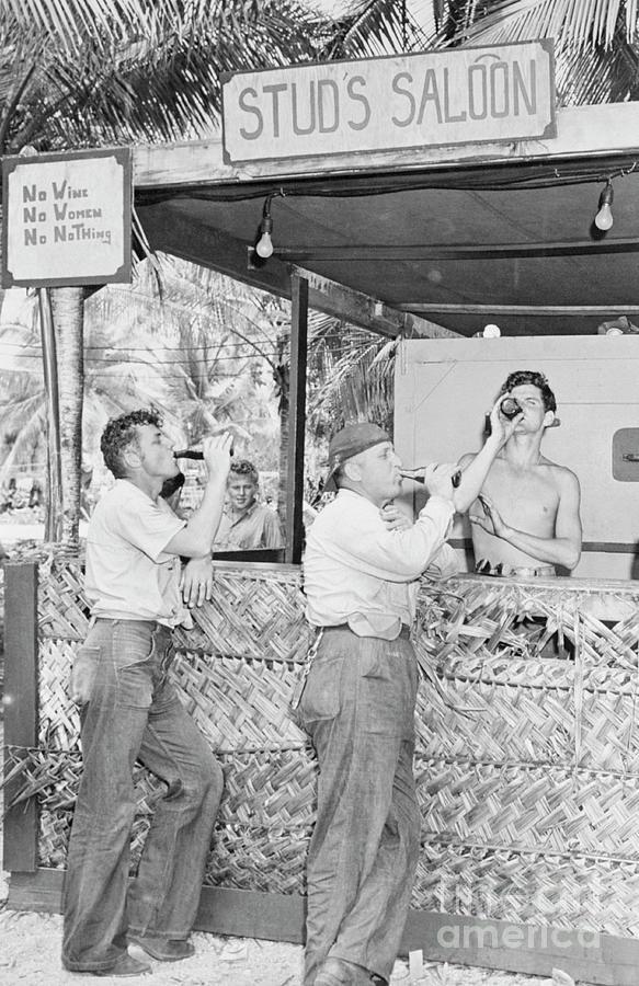 Sailors Drinking At Makeshift Saloon Photograph by Bettmann