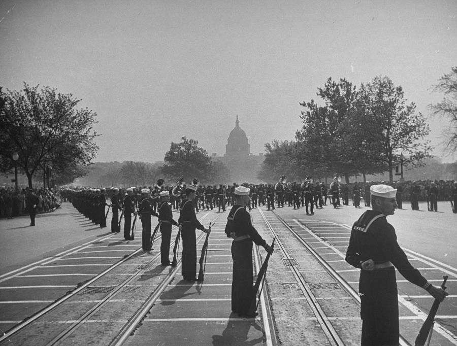 Sailors Lining Constitution Avenue For Photograph by Alfred Eisenstaedt