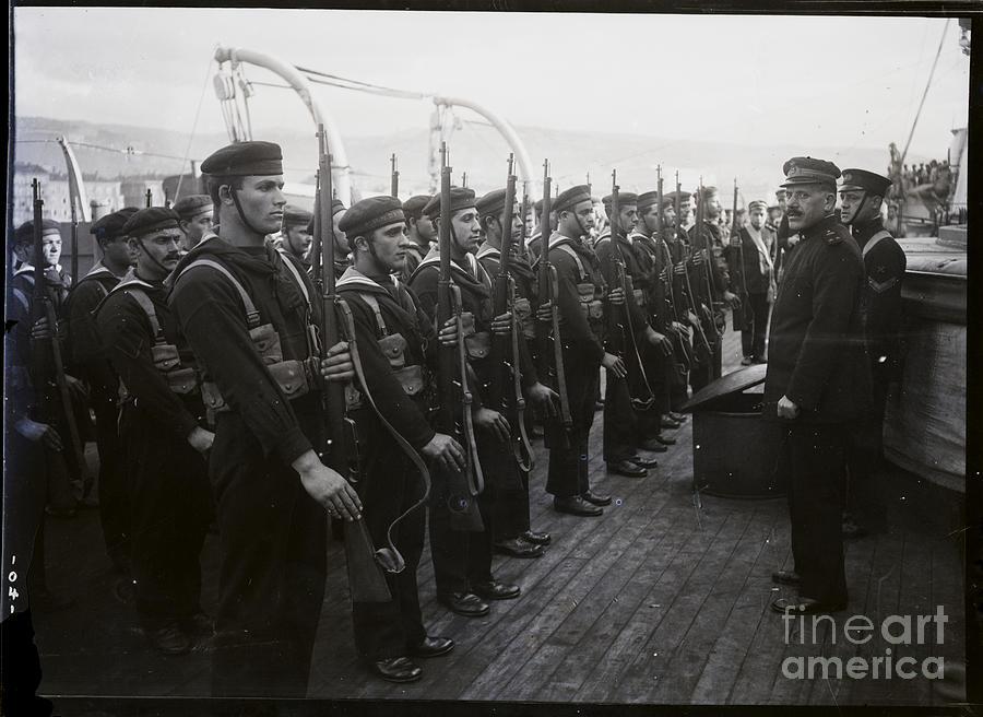 Sailors On Ship Undergoing Inspection Photograph by Bettmann