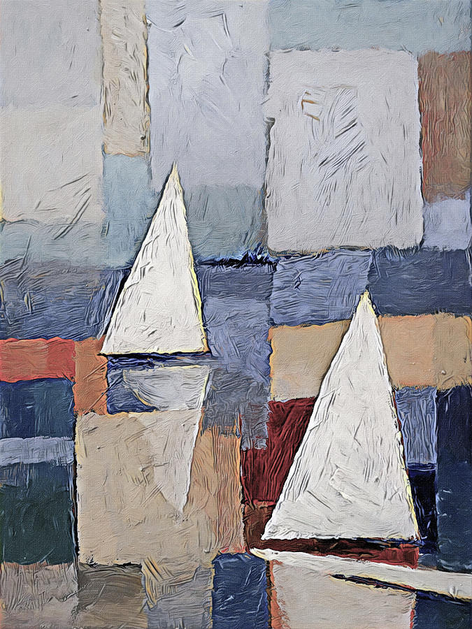 Abstract Sailboat Painting - Sails Art by Lutz Baar
