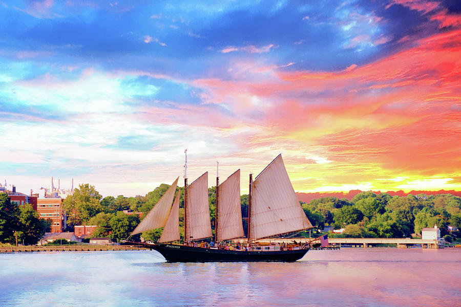 Sails In The Wind At Sunset On The York River Photograph