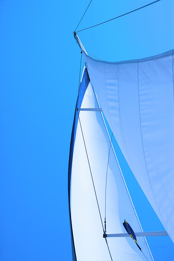 Sails On A Sailing-boat Against A Blue Photograph by kindler, Andreas