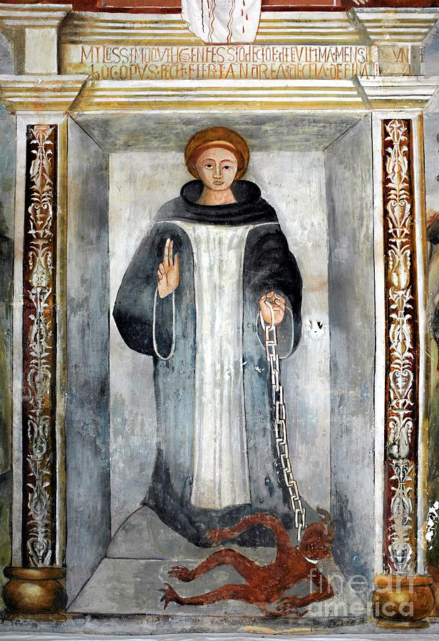Saint Bernard of Menthon with the devil by Andrea da Cella