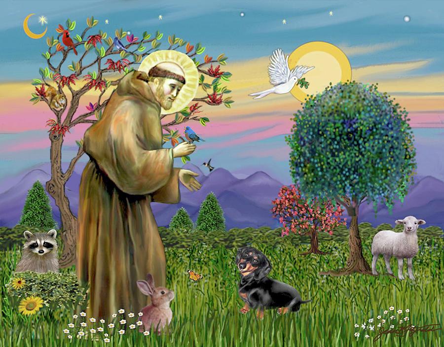 Saint Frances Blesses a Black and Tan Dachshund by Jean Batzell Fitzgerald