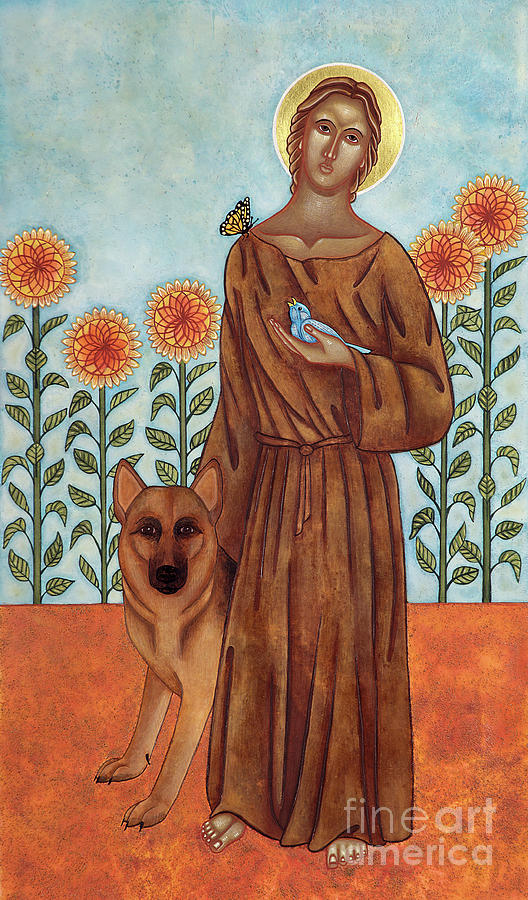 Francis Of Assisi Painting - Saint Francis And The Wolf Of Gubbio by Jodi Simmons