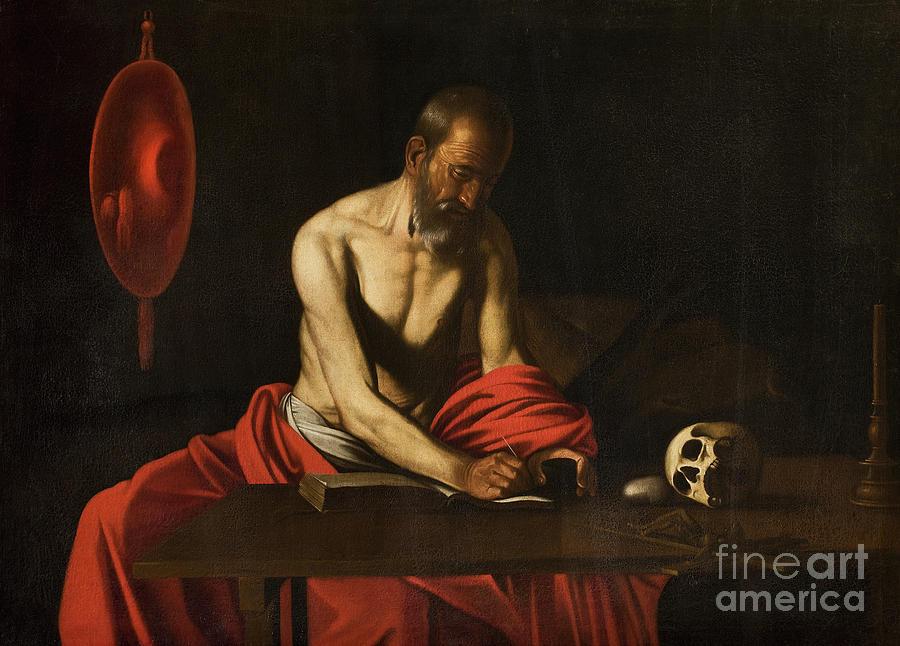 Saint Jerome Painting - Saint Jerome, 1607  by Caravaggio
