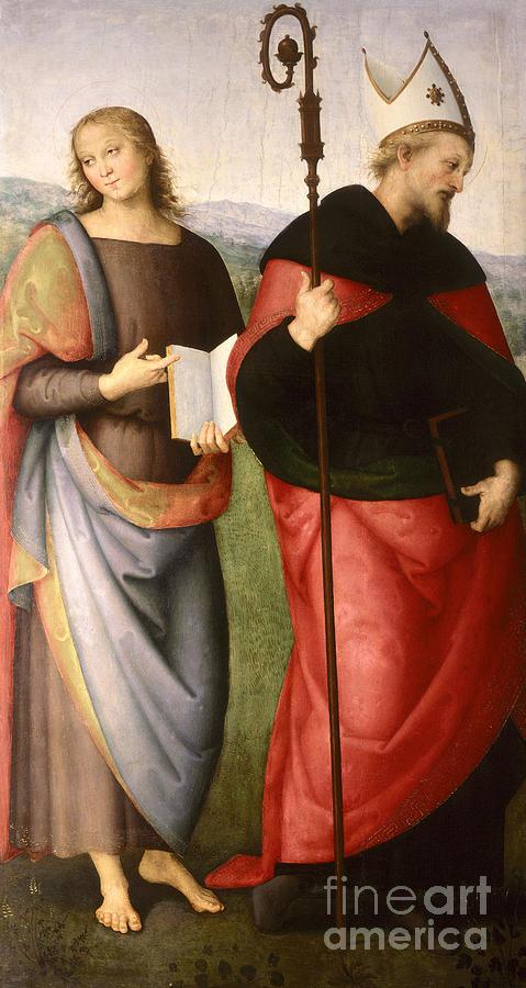 Saint Painting - Saint John The Evangelist And Saint Augustine by Pietro Perugino