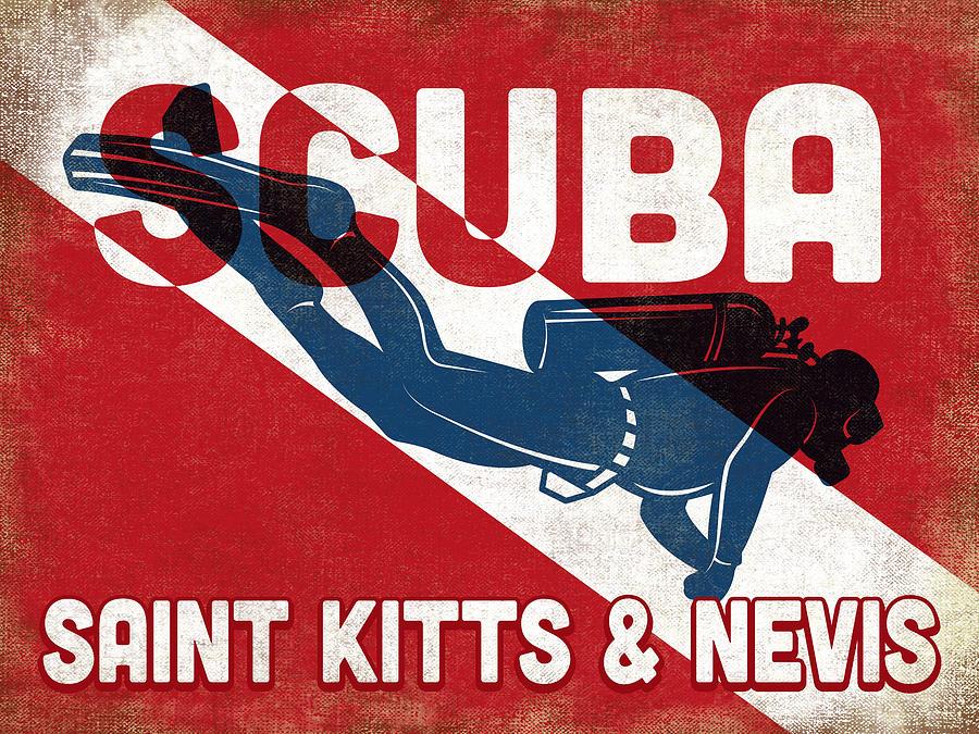Saint Kitts Digital Art - Saint Kitts Evis Scuba Diver - Blue Retro by Flo Karp
