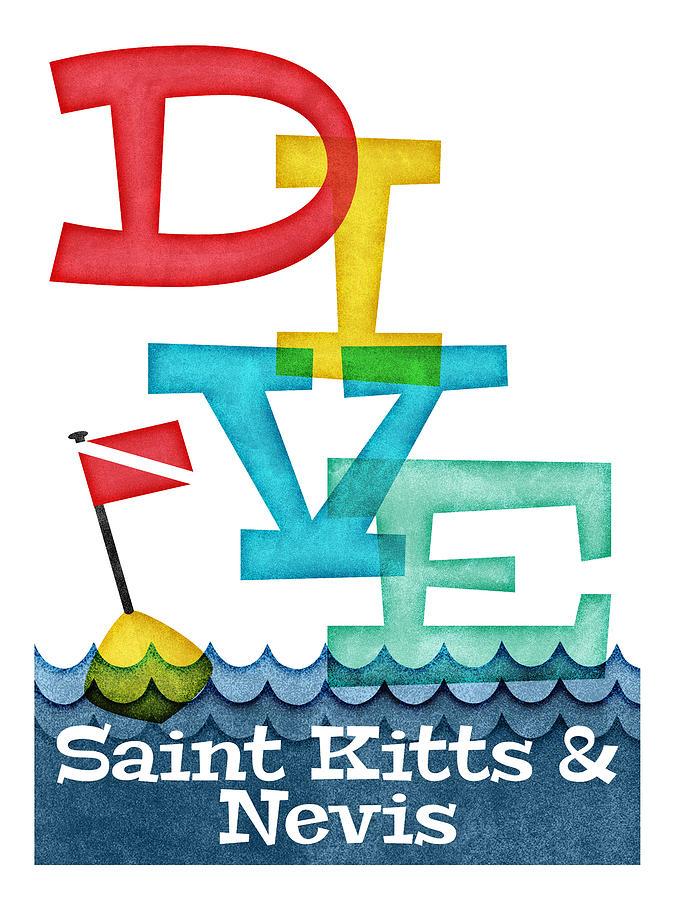 Saint Kitts Digital Art - Saint Kitts Nevis Dive - Colorful Scuba by Flo Karp