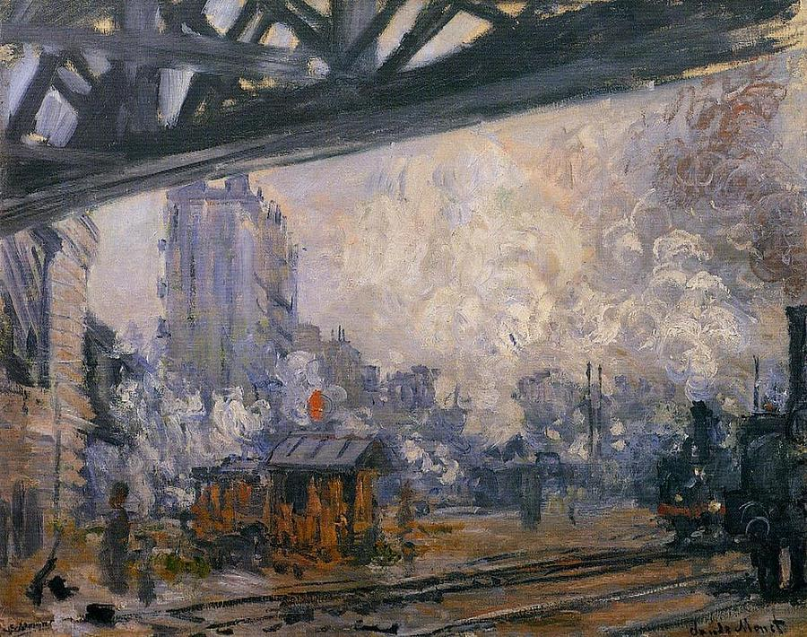 Saint-lazare Station, Exterior View, 1887 Painting