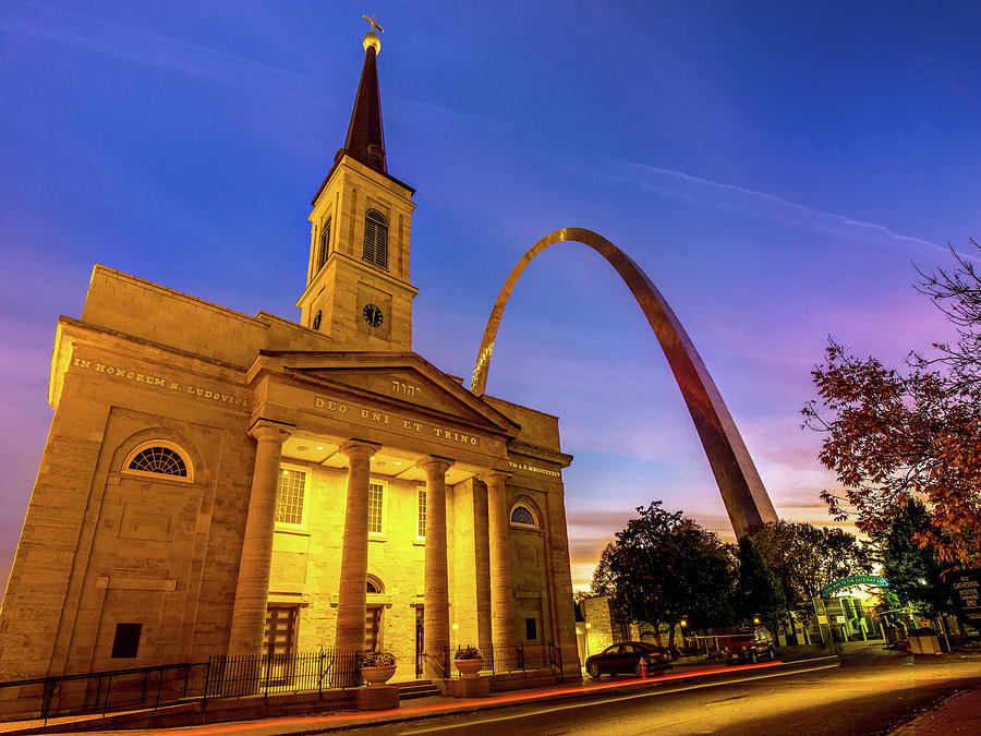Saint Louis Gateway Arch And Cathedral At Dawn Photograph
