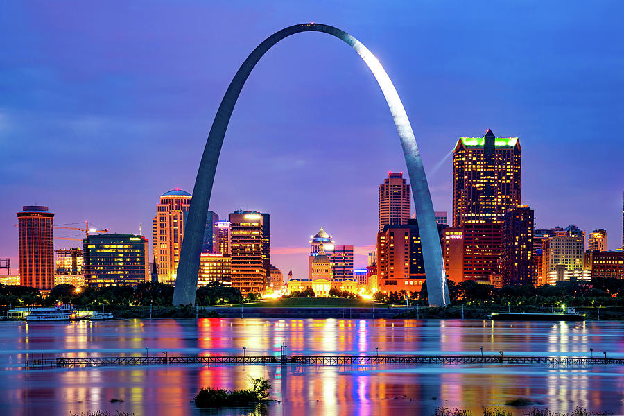 Saint Louis Skyline And Arch Over The Mississippi River Photograph
