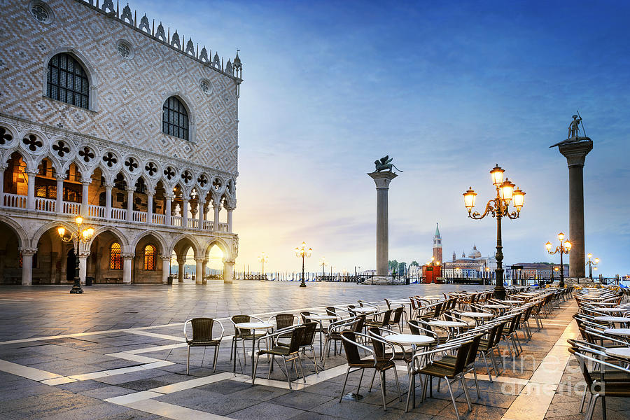 City Photograph - Saint Mark Square With San Giorgio Di by Ventdusud