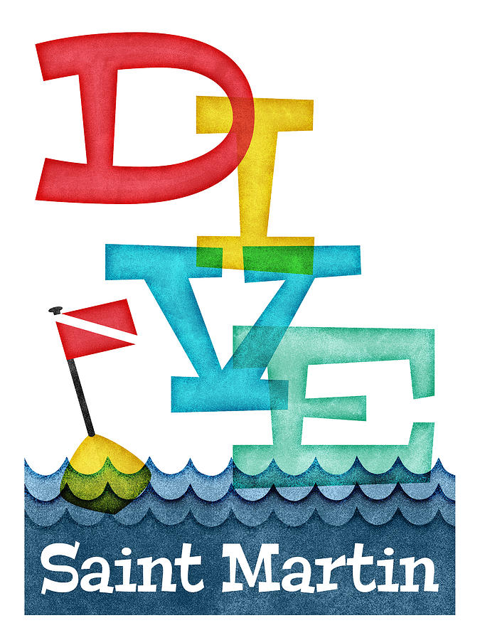 Saint Martin Digital Art - Saint Martin Dive - Colorful Scuba by Flo Karp