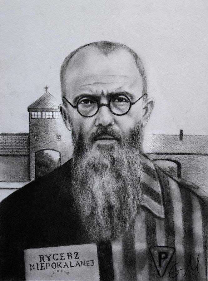 Saint Maximilian Kolbe Drawing - Saint Maximilian Kolbe portrait by Eric  Armusik