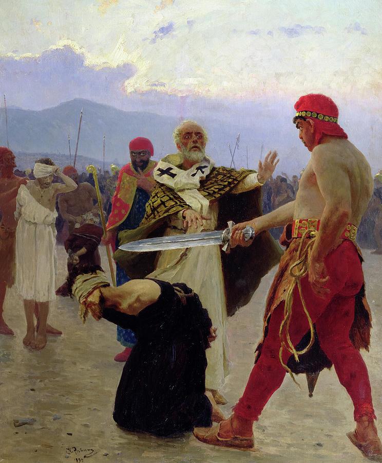 Ilya Repin Painting - Saint Nicholas Of Myra Saves Three Innocents From Death, 1888 by Ilya Repin