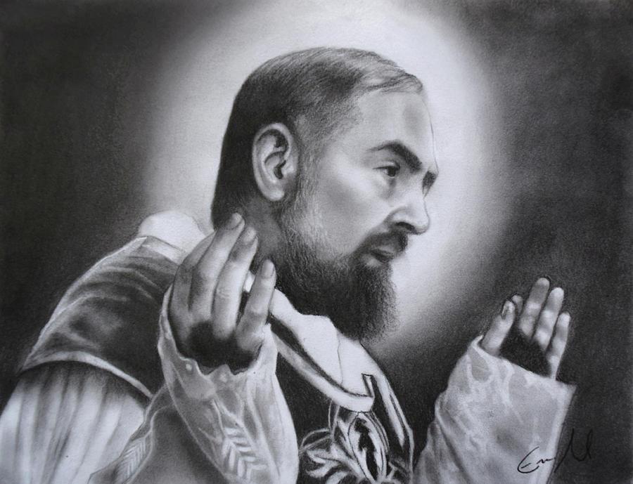 Saint Padre Pio Drawing - Saint Padre Pio by Eric  Armusik