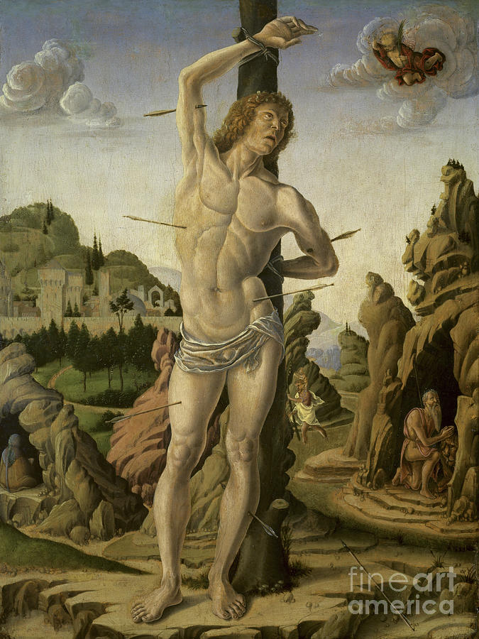 Sebastian Painting - Saint Sebastian In A Rocky Landscape With Saints Jerome, Anthony Abbot And Christopher by Marco Zoppo