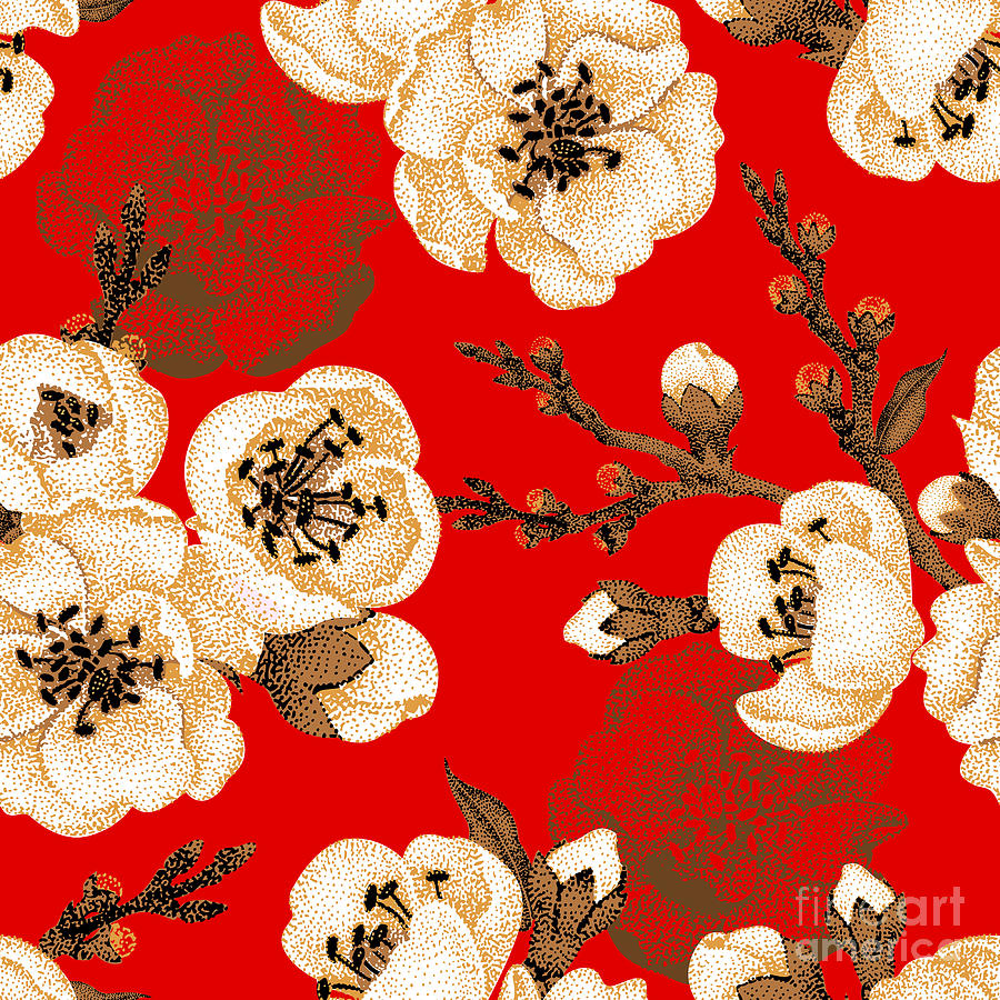Beauty Digital Art - Sakura Branch On Red Background Vector by Mamita