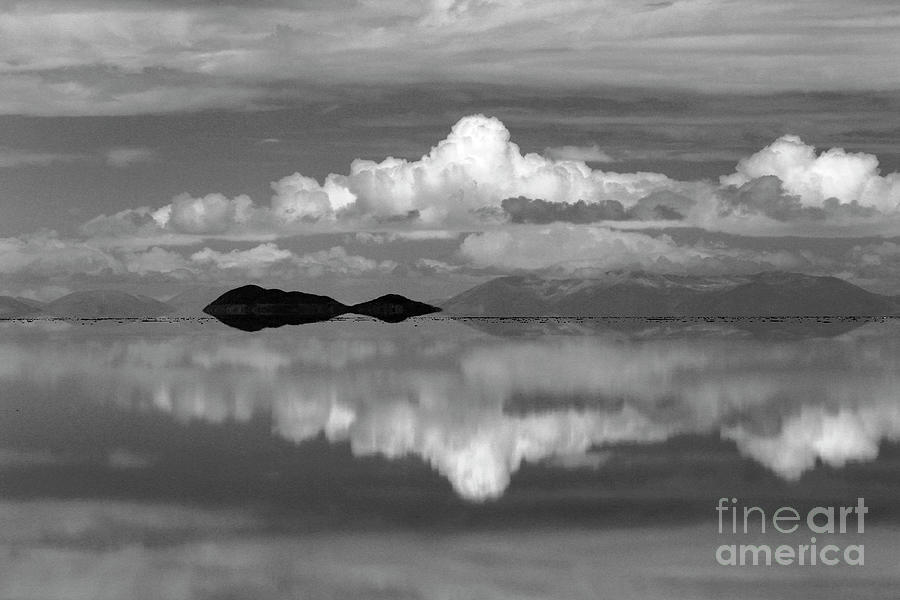 Salar de Uyuni Cloudscape in Black and White Bolivia by James Brunker