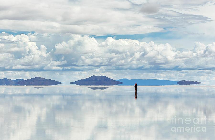 Shadow Photograph - Salar De Uyuni Is Largest Salt Flat In by Vadim Petrakov