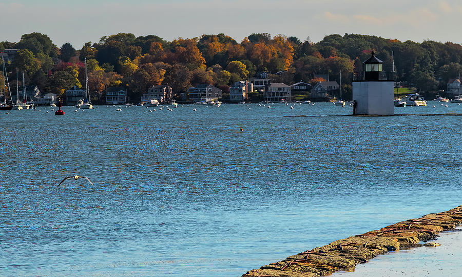 Salem Derby wharf lighthouse flooded by Jeff Folger
