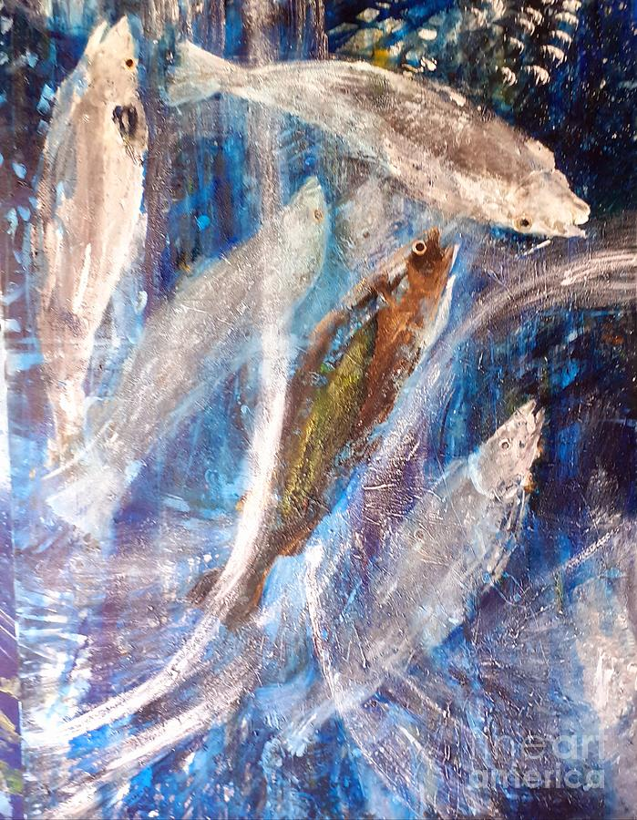 Modern Painting - Salmon Dance by Jocasta Shakespeare