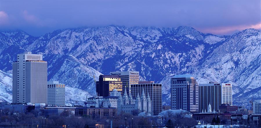 Salt Lake City Skyline With Wasatch Photograph by John Telford Photographs