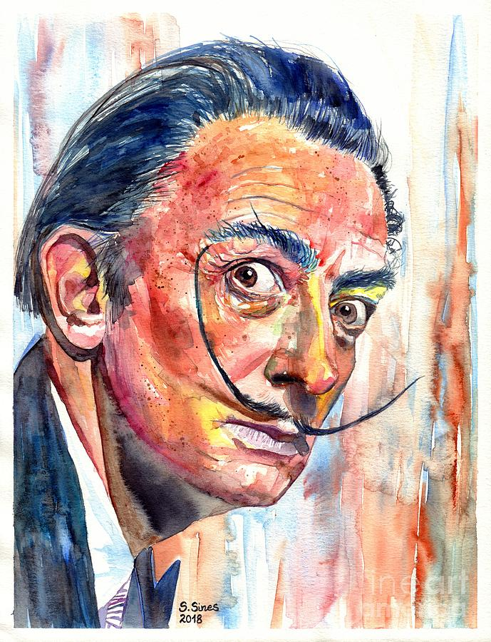 Salvador Painting - Salvador Dali portrait by Suzann Sines