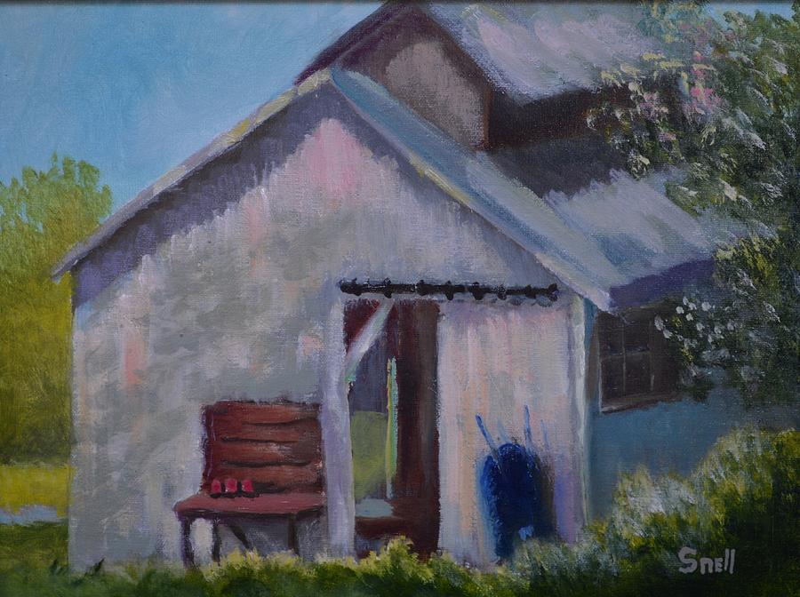 Oil Painting - Salvisa Shed by Roger Snell