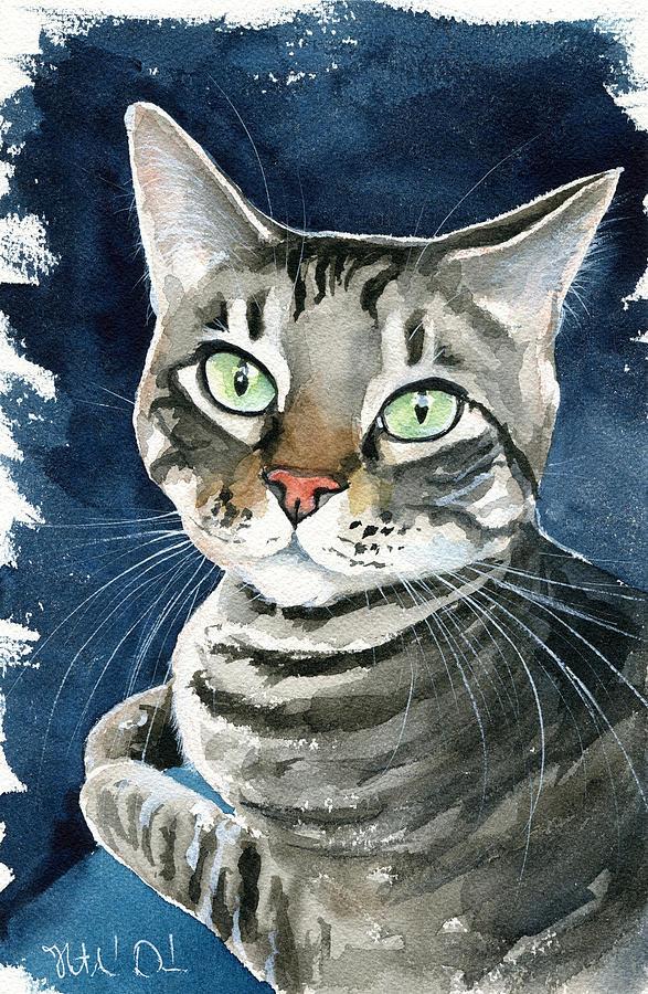 Sammy Tabby Cat Portrait by Dora Hathazi Mendes